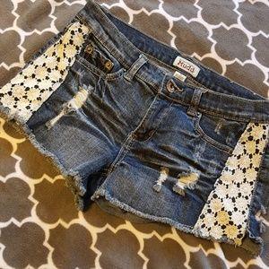 Mudd Shorts - NWOT Mudd Distressed Denim Shorts W/ Lace Panels